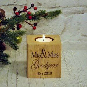 Personalised Mr & Mrs Wedding T Light Candle Holder English Oak Wood